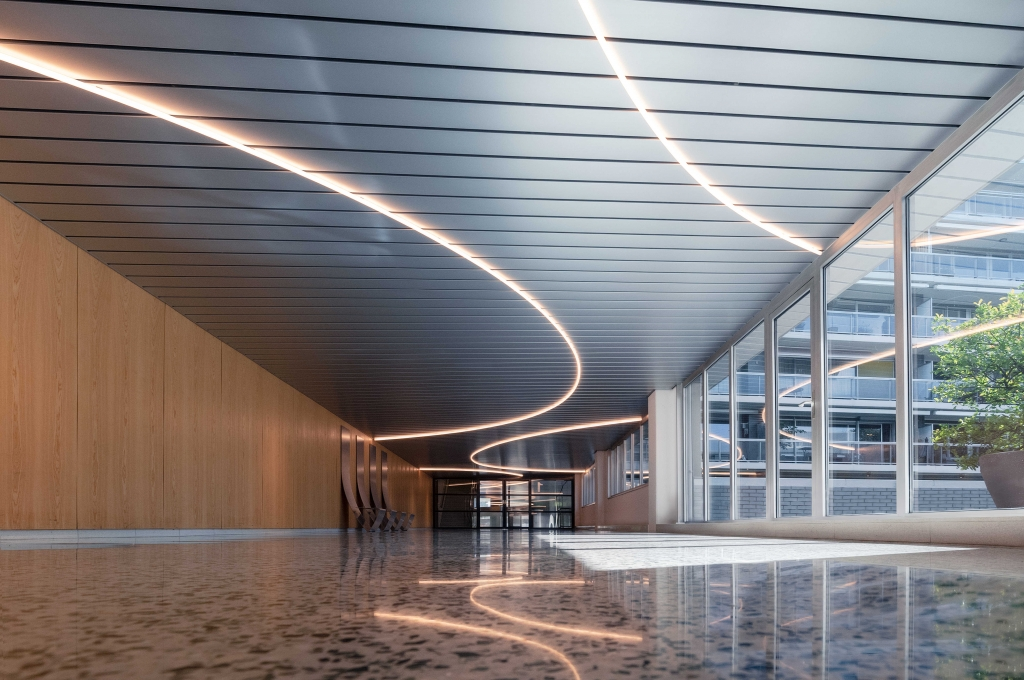 light sculpture 'Constellations' meanders through Byzantium, a residential building by Rem Koolhaas in Amsterdam